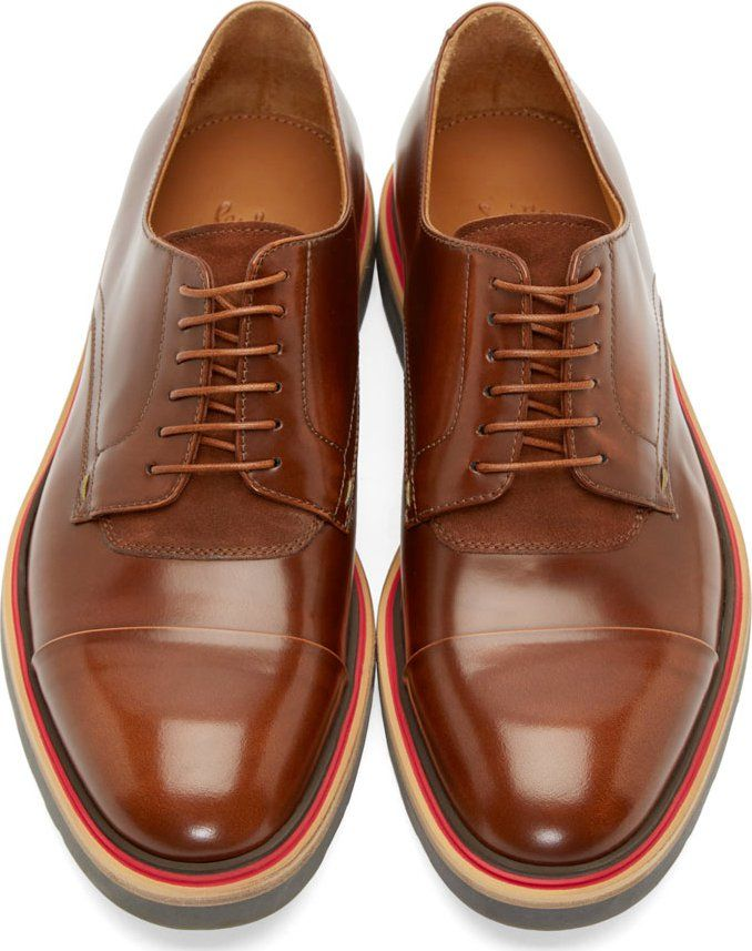 Paul Smith Dark Tan Leather City Brush-Off Derby Shoes