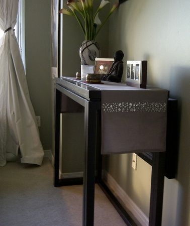 Black Solid Wood Console Table That Converts To Dining