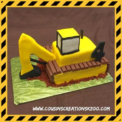 Back Hoe Construction Truck Cousins Creations Birthday Cakes for