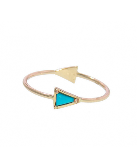 Diamond and Turquoise Double Triangle Ring