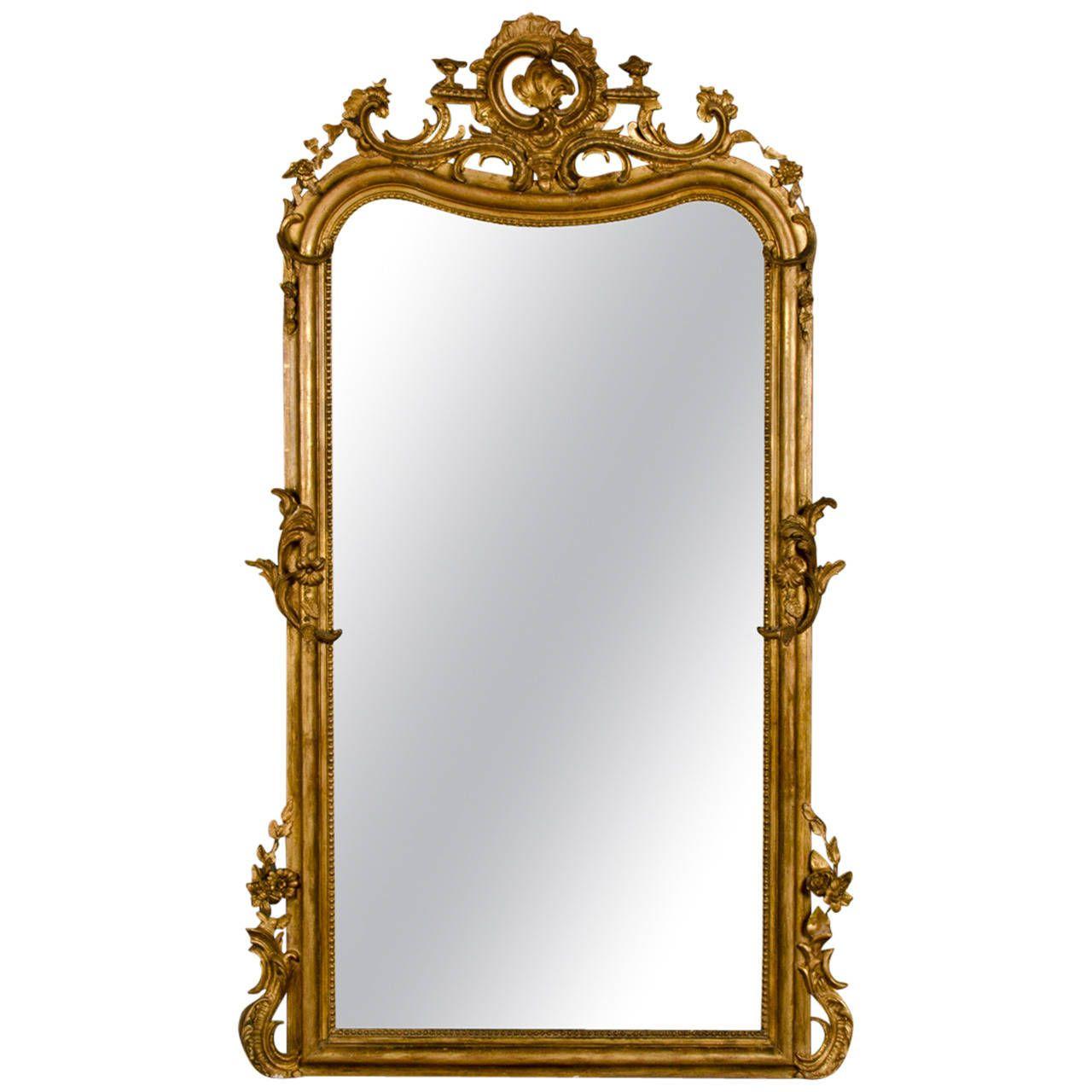 mirror gold frame. louis xv gold frame mirror, floral cartouche, france circa 1890 (43\ mirror a