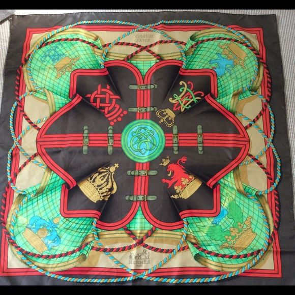 Authentic HERMES PARIS Silk Scarf GRAND TENUE Authentic HERMES silk scarf GRAND TENUE by H D'ORIGNY was first issued in 1985 in France. I purchased it in Paris at Hermes store in early 1990's and paid in francs. Beautiful colors of Chinese Red, Green, Aqua, Brown and Camel. Hand rolled hem. Excellent pre-owned condition. No tears, fading or any blemishes. I am always happy to answer your questions. Thank you. Hermes Accessories Scarves & Wraps