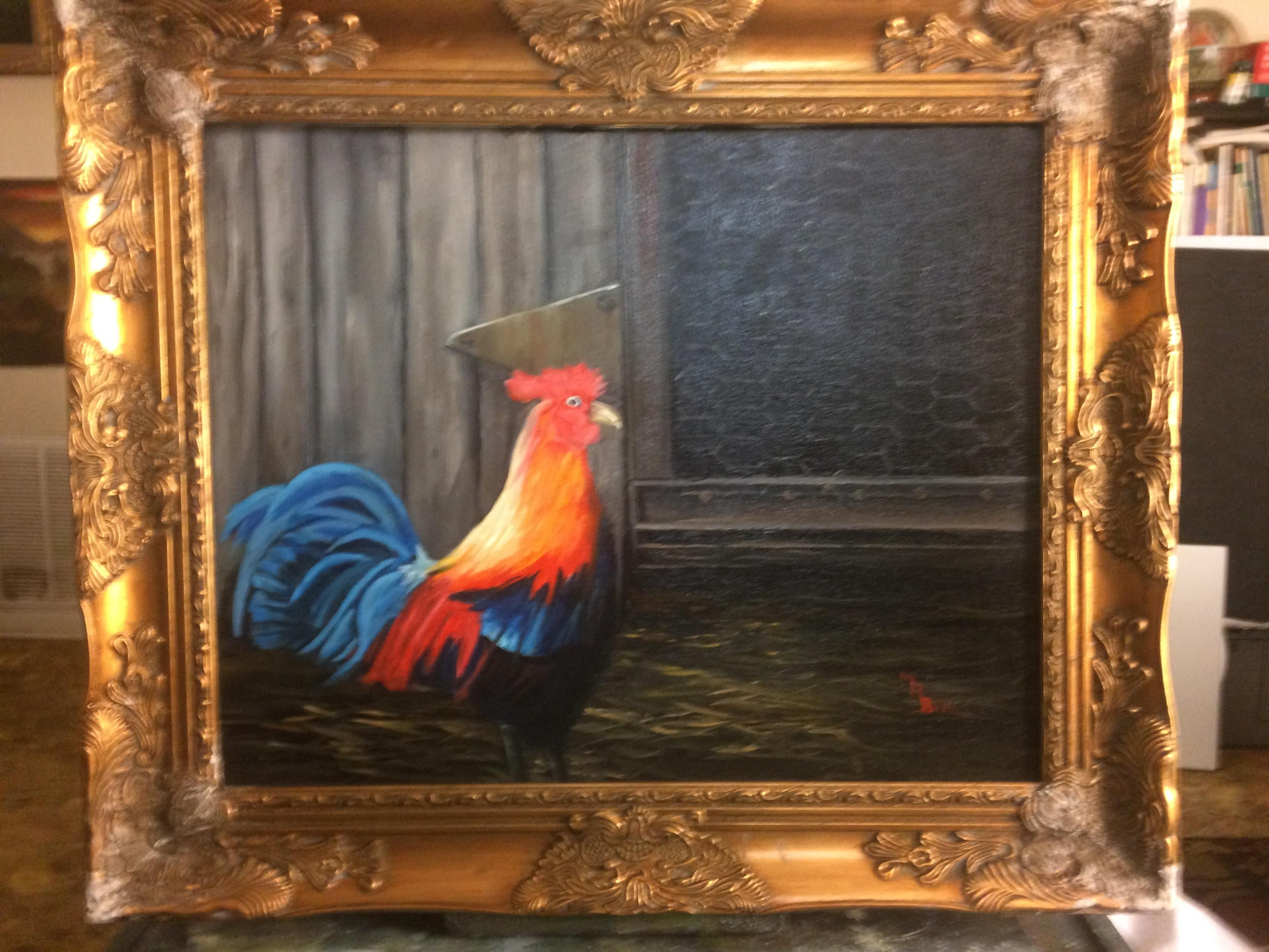 Mr rooster oil on canvas 16X20 painted two weeks ago