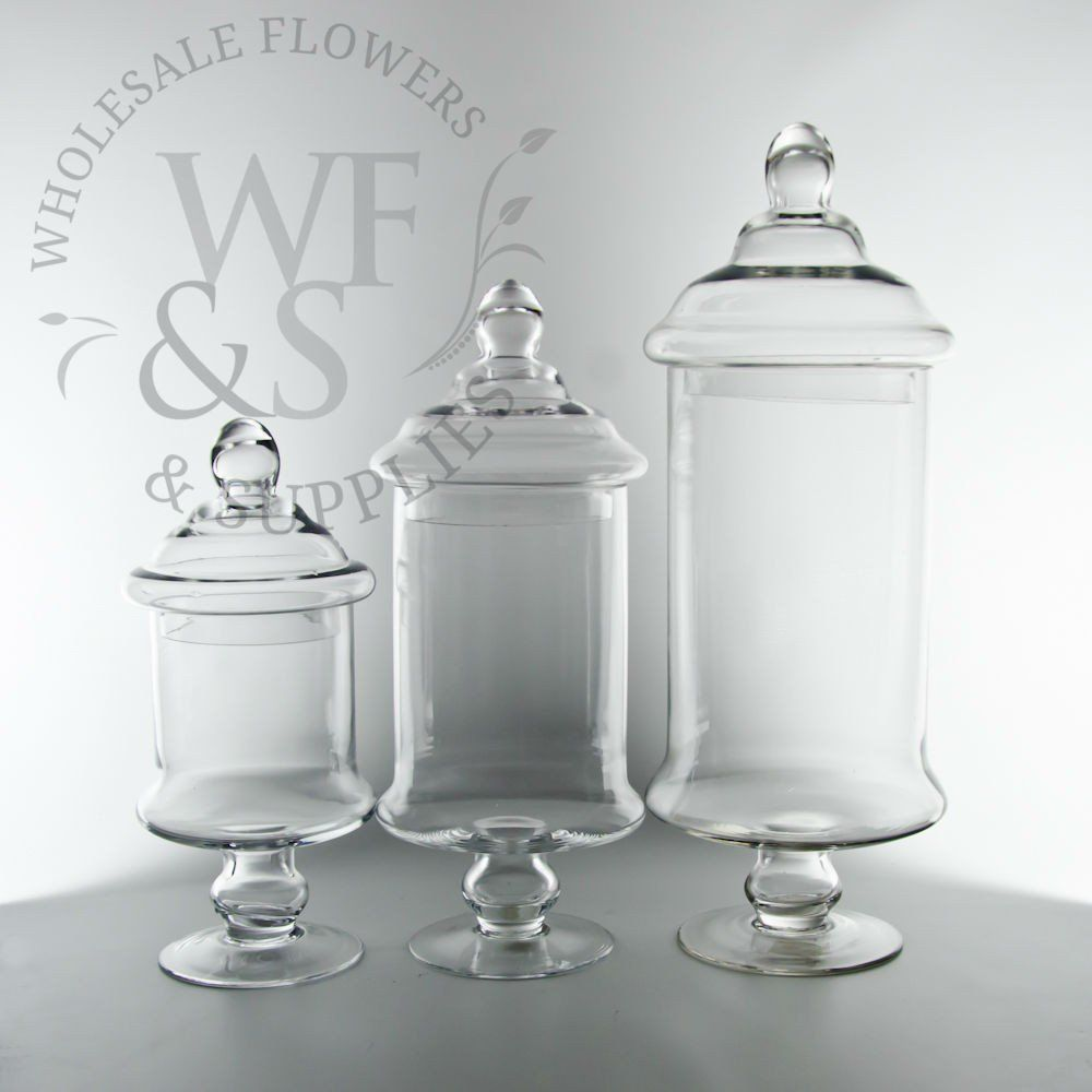 Glass Cylinder Candy Jar Vases With Lids 12H