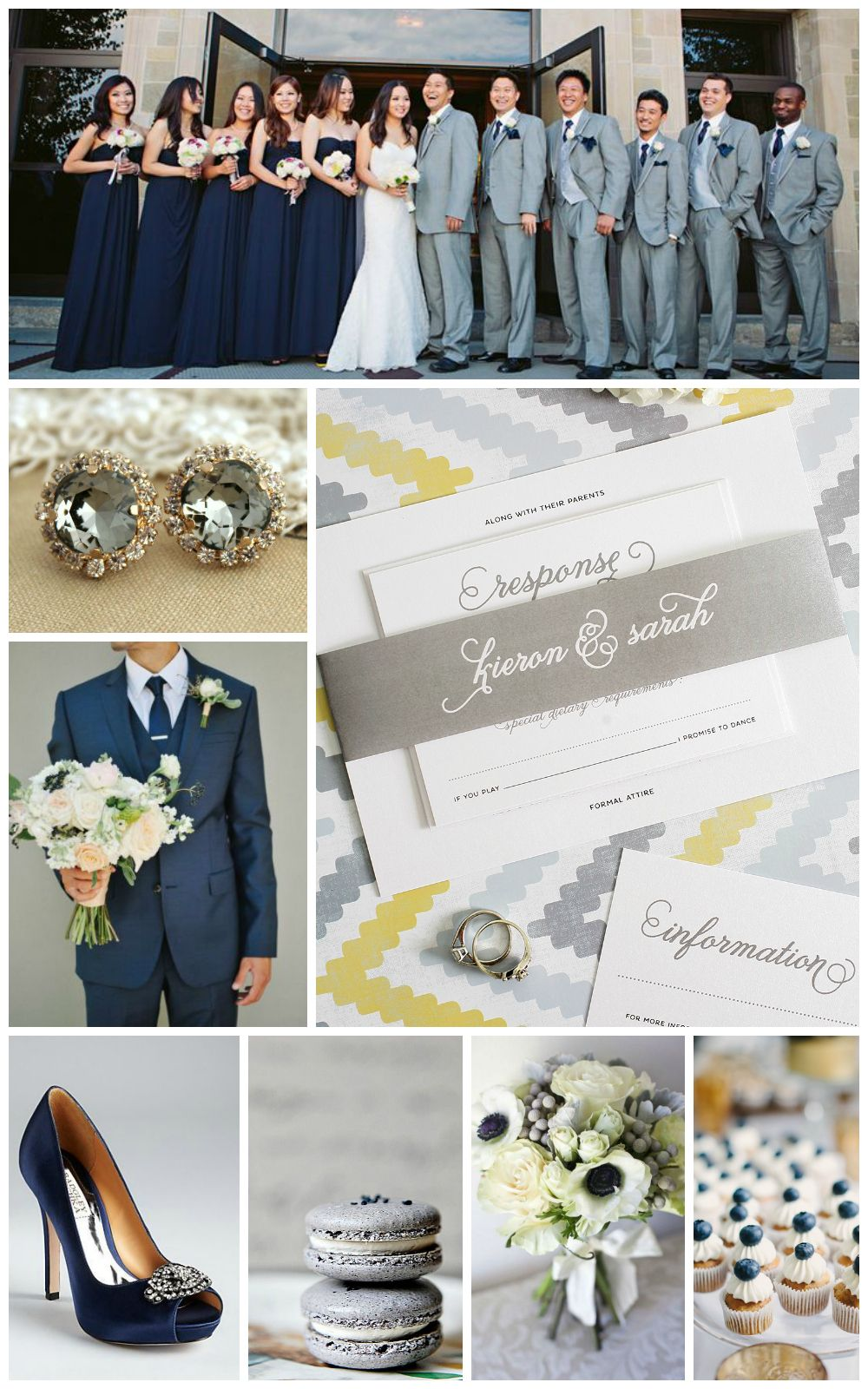 Navy and Gray Wedding Inspiration | Shine wedding invitations, Navy ...