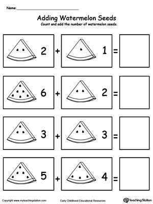 Addition With Watermelon Seeds Addition Worksheets Kindergarten Addition Worksheets Kindergarten Math Worksheets Addition Pre k math worksheets addition