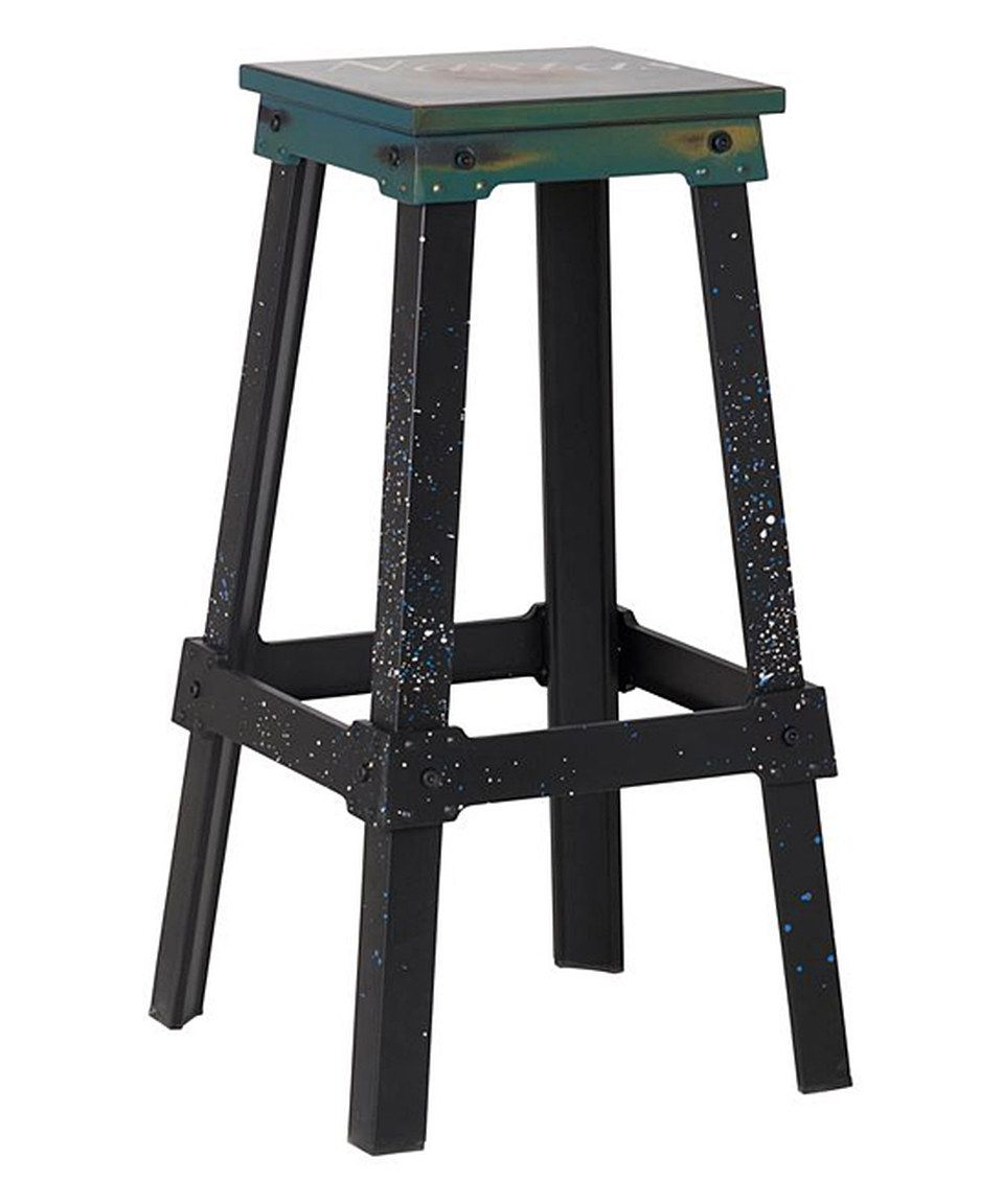 Loving this Turquoise Industrial Metal Barstool on #zulily! #zulilyfinds