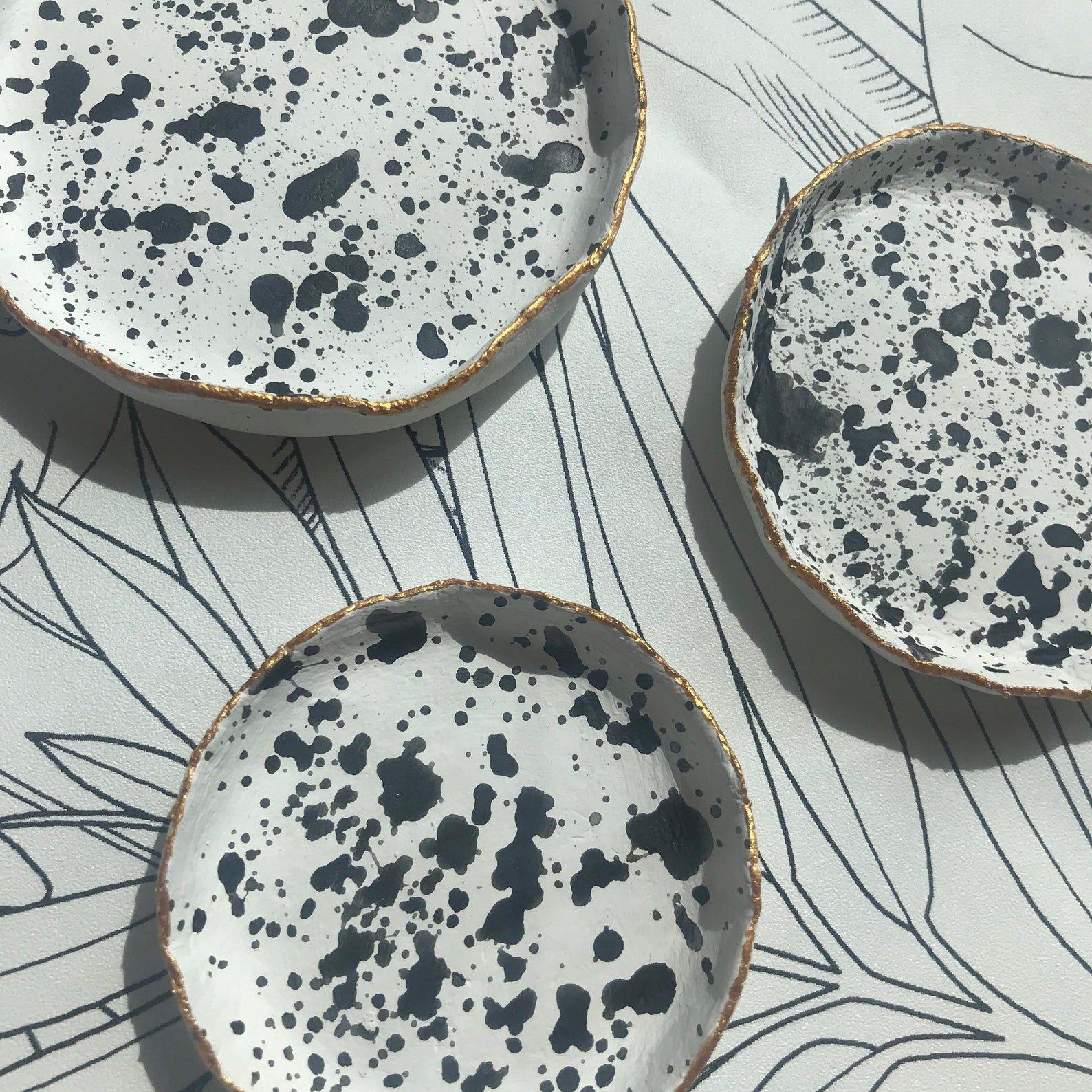 Splatter Black /& White Jewellery Trinket Dish Lucky Dip