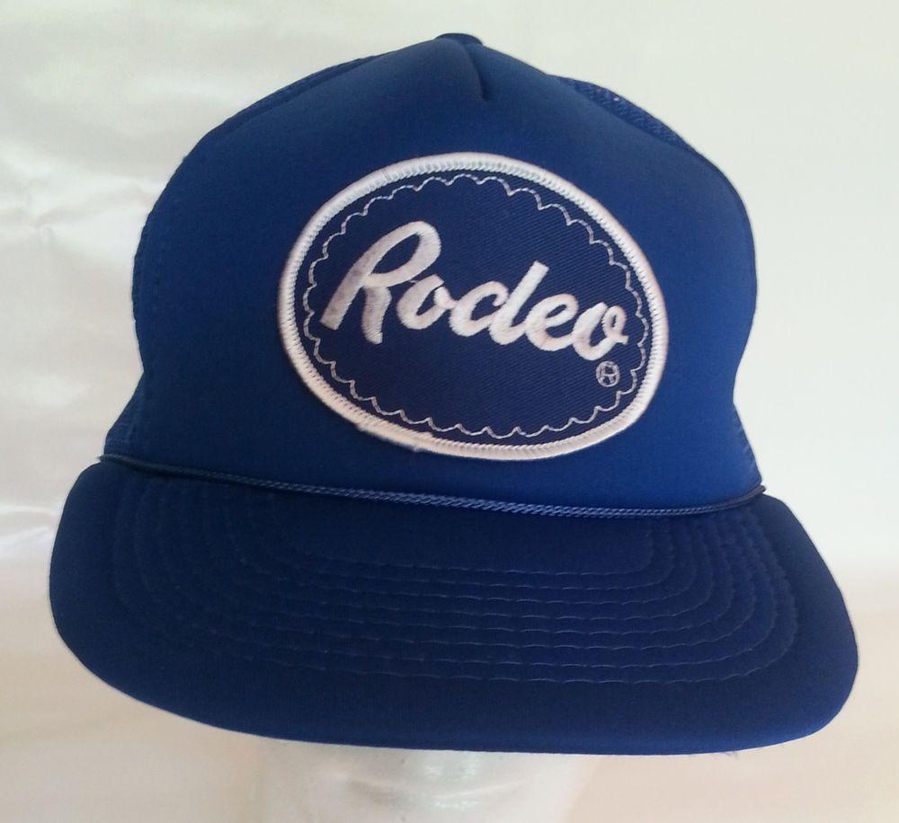 0e0fa92942783 Vintage Rodeo PatchTrucker Hat Mesh Snapback Foam Embroidered Blue Baseball  Cap  Cap