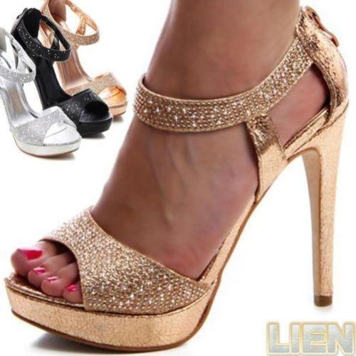 c2c1db34ff Brillo-Tacones-De-Tiras-Sandalias-Altos-Fiesta-Boda-Zapatos-Mujer-Plataforma
