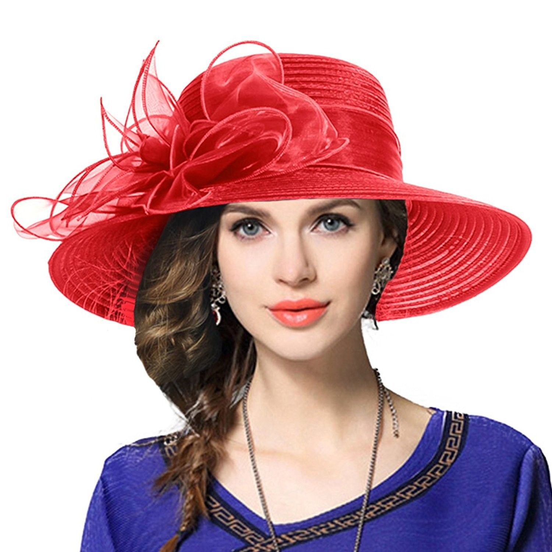 0b0dee2d28f Kentucky Derby Dress Church Cloche Hat Sweet Cute Floral Bucket Hat -  Leaf-red - C9189Z92QQ7 - Hats   Caps