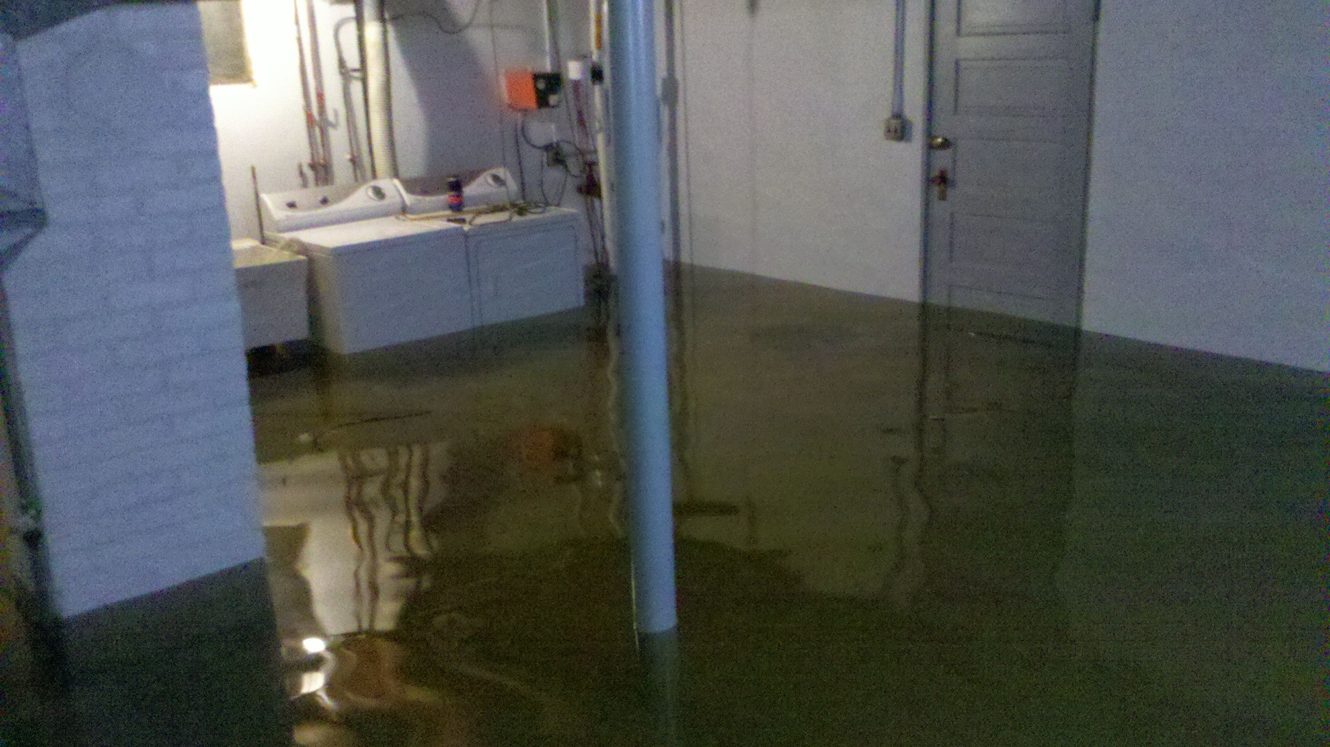 Basement flood. After a water supply line ruptured, the