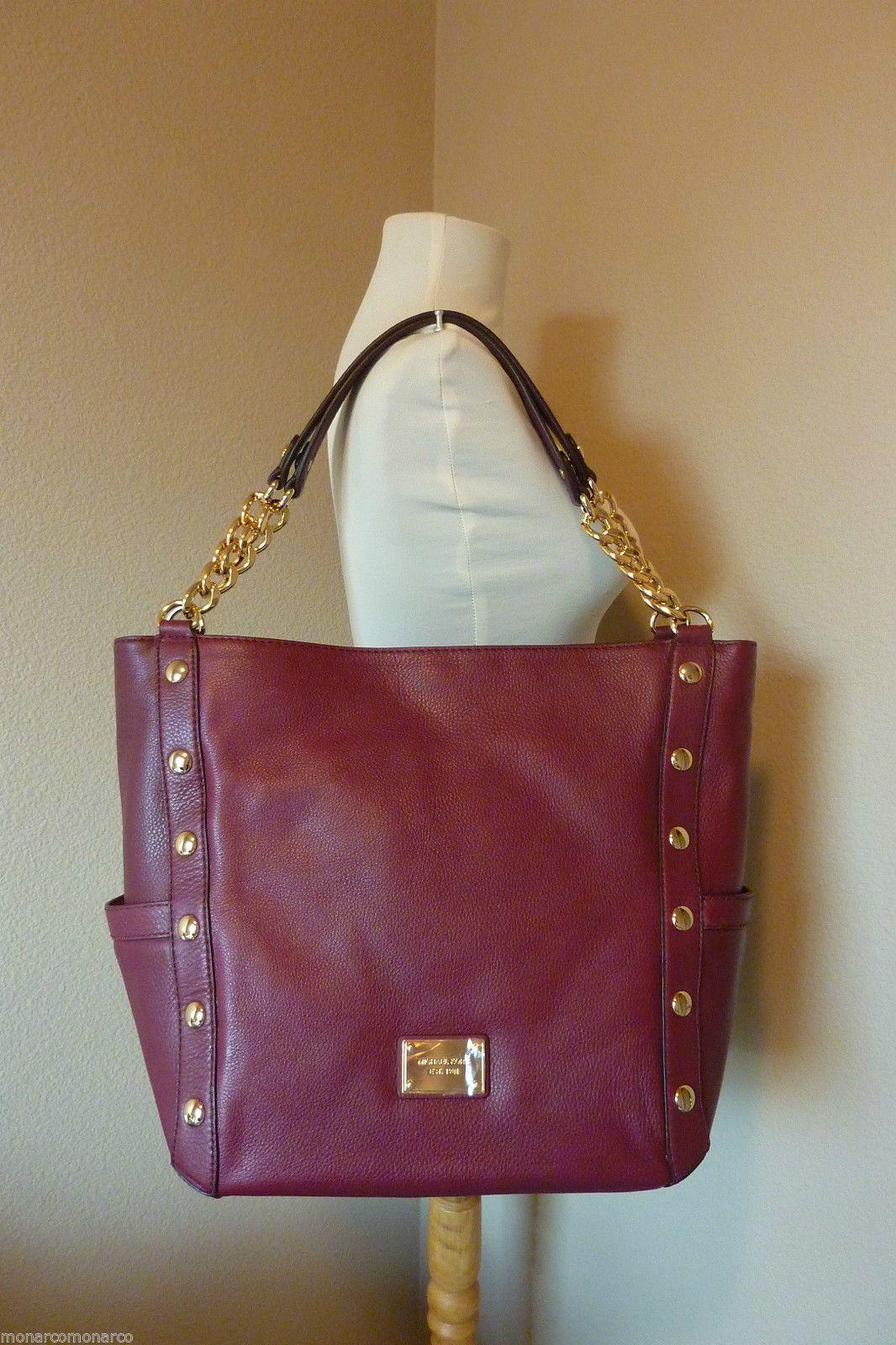 03ba9fe22fd8 Michael Kors Bordeaux Leather Delancy with Chain Large Shoulder Tote Bag  $498 | eBay