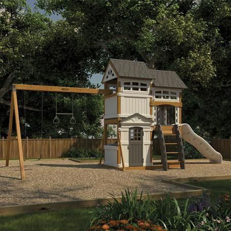 Suncast Wood And Resin Swing Set