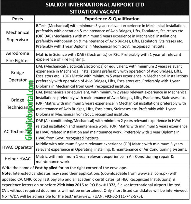 Mechanical Supervisor Jobs in Sialkot International Airport   - supervisor job description