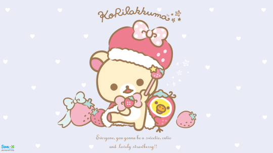 Korilakkuma Strawberry Bunny Series Desktop Wallpaper