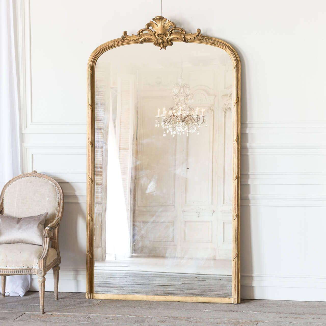 Eloquence Antique French Rounded Arched Mirror With Crest