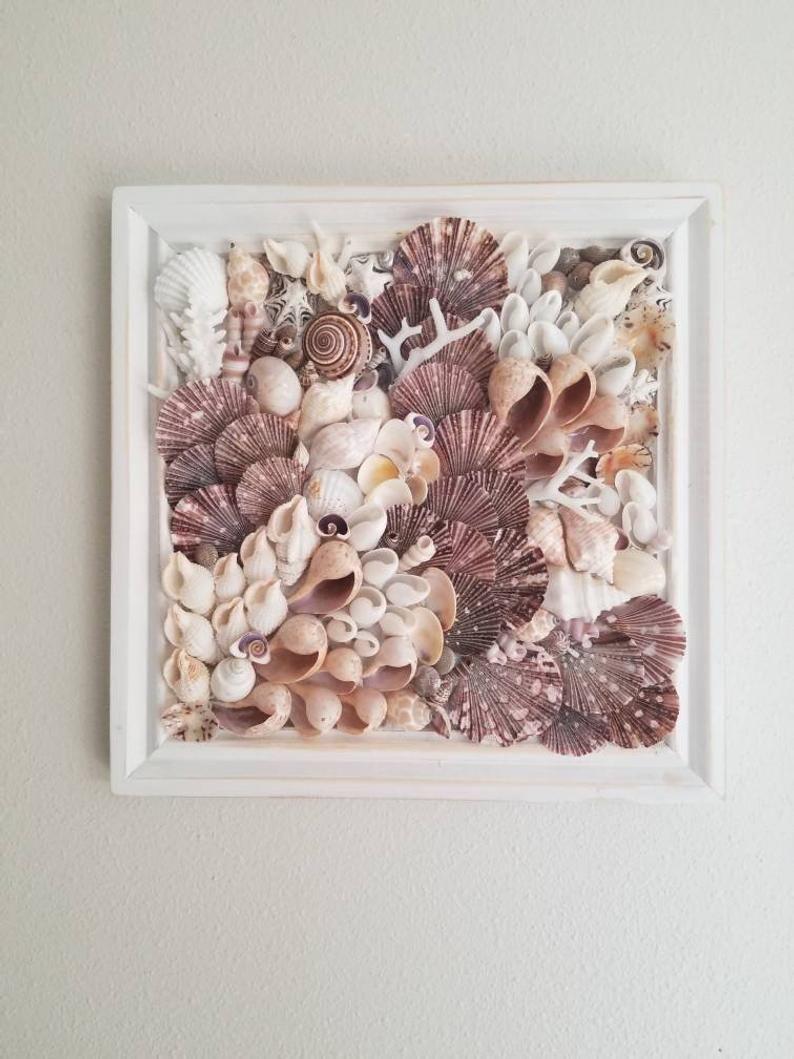 Seashell Mosaic Art Wall Art Coastal Decor Beach Nautical Etsy Sea Shell Decor Seashell Wall Art Shell Crafts Diy