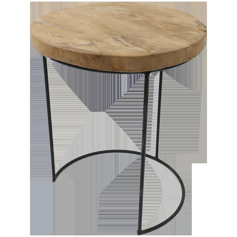 découvrez le produit table d'appoint en teck ronde 38 x 45 cm en