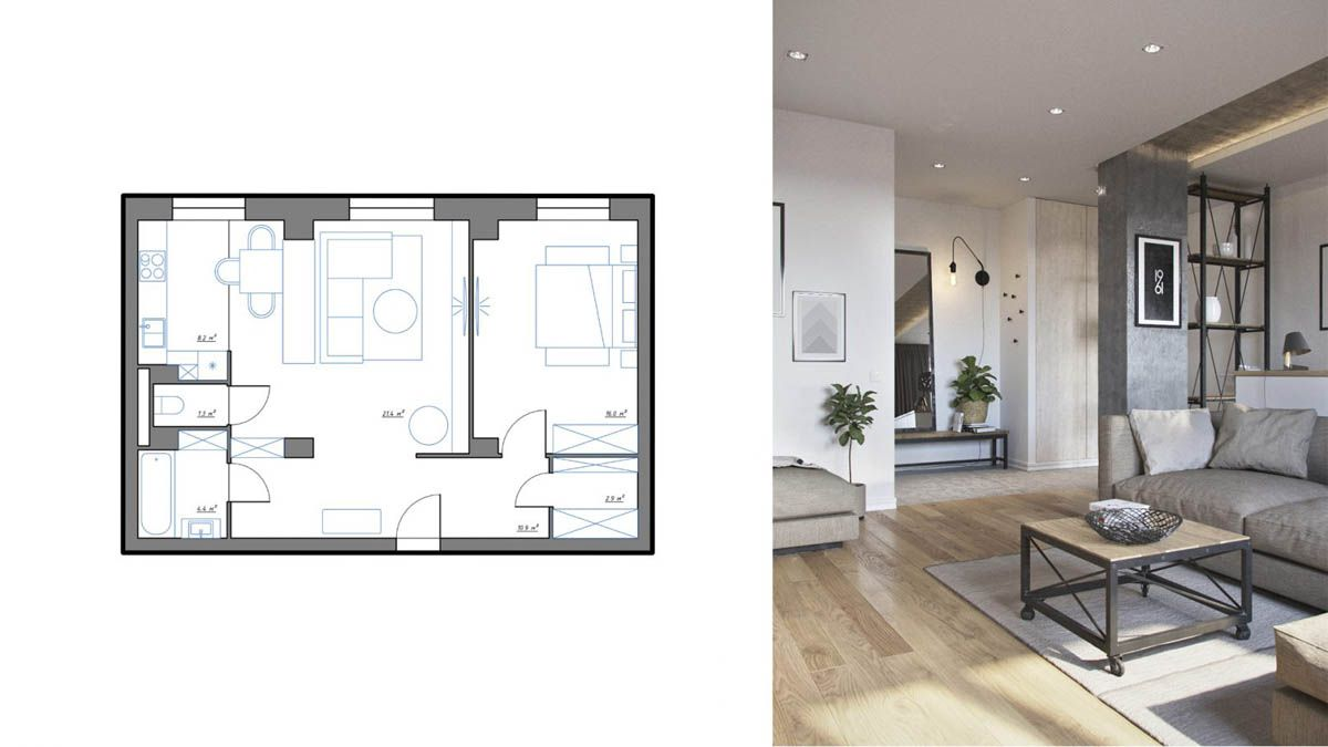 3 One Bedroom Apartments Under 750 Square Feet 70 Square Metres