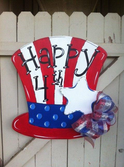 Uncle Sam Forth Of July Top Hat Wooden Personalized Door Hanger Wooden Door Signs Wooden Door