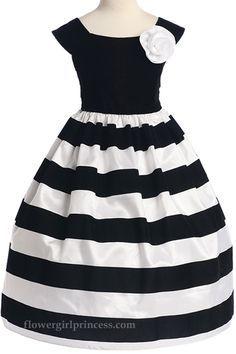 Vestido blanco con negro para ninas