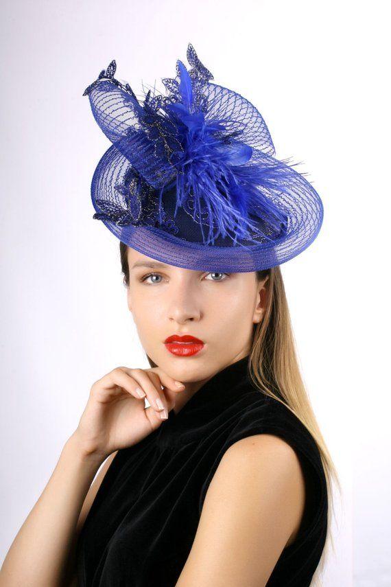 7700151b93029 Royal blue hat, derby fascinator, Royal Ascot Fascinator, blue gold  fascinator, Kentucky derby hat,