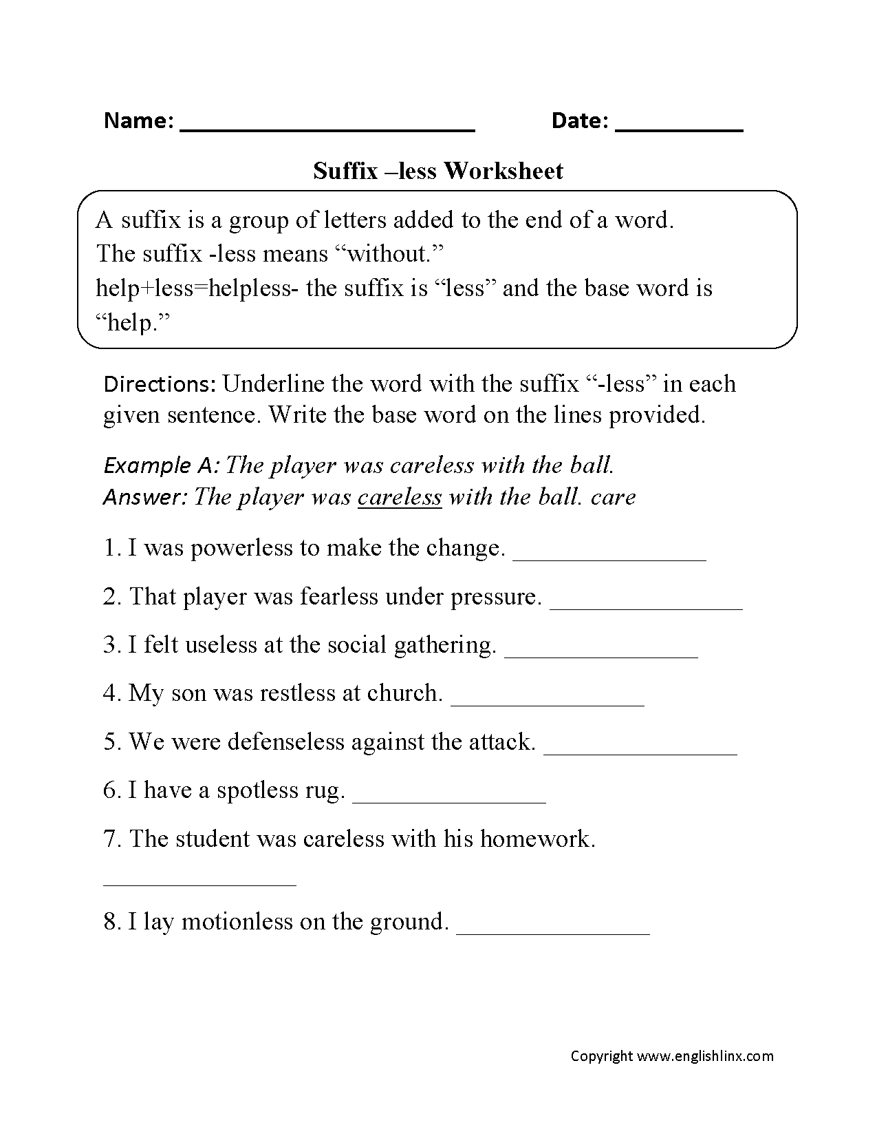 Suffixes Less Worksheets