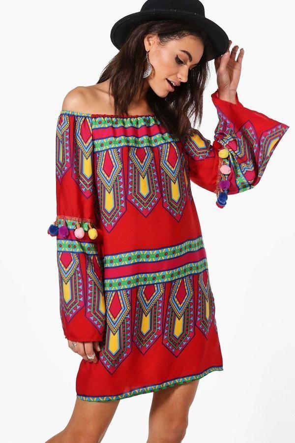 b1bdf20ebbe7 boohoo Sia Pom Pom Off Shoulder Shift Dress | African fashion