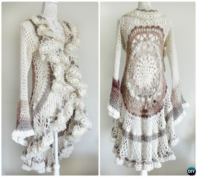 Chaqueta DIY ganchillo motif suéter Instrucción Circular-ganchillo ...