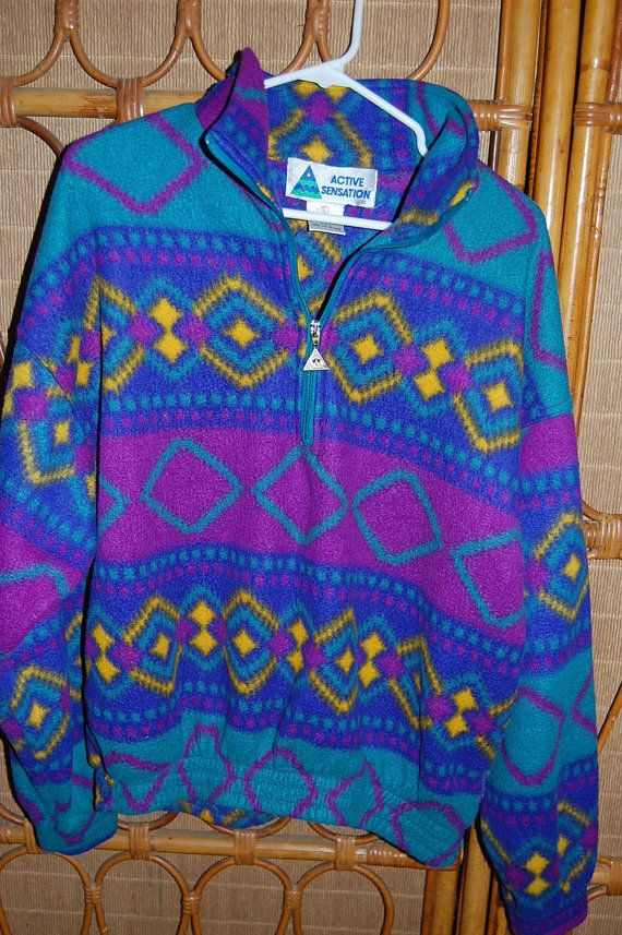 Vintage 80s 90s Tribal Southwest Pullover Polar Fleece Half Zip ...