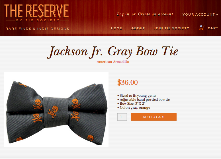 We already know that YOU look sharp- but does your kid? New Jr.'s bow ties, now available in The Reserve from Indianapolis's own American Armadillo- just $36.  http://store.tiesociety.com/collections/american-armadillo