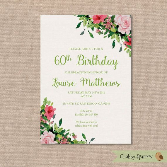 Floral Birthday Party Invitation Vintage By ChubbySparrow On Etsy