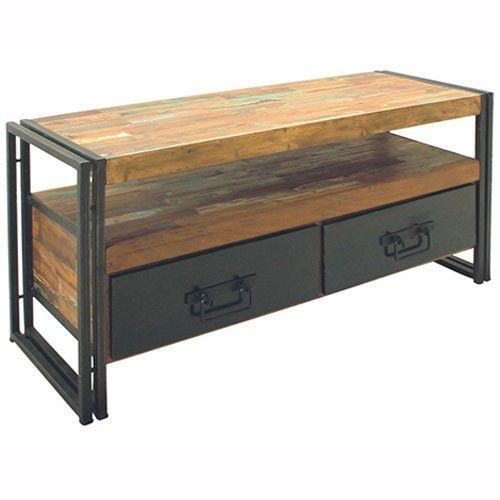 industrial tv cabinet reims 6 off milan. Black Bedroom Furniture Sets. Home Design Ideas