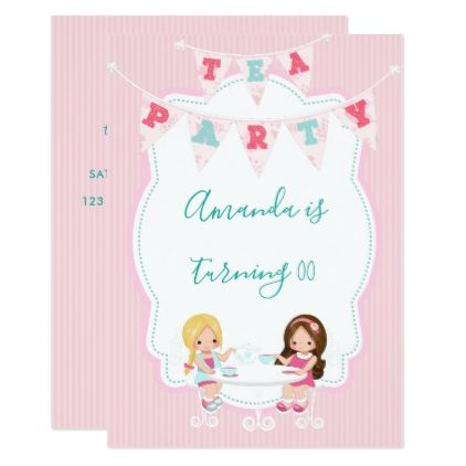 #Girl's Birthday Tea Party Shabby-Chic Personalized Card - #birthday #invitations