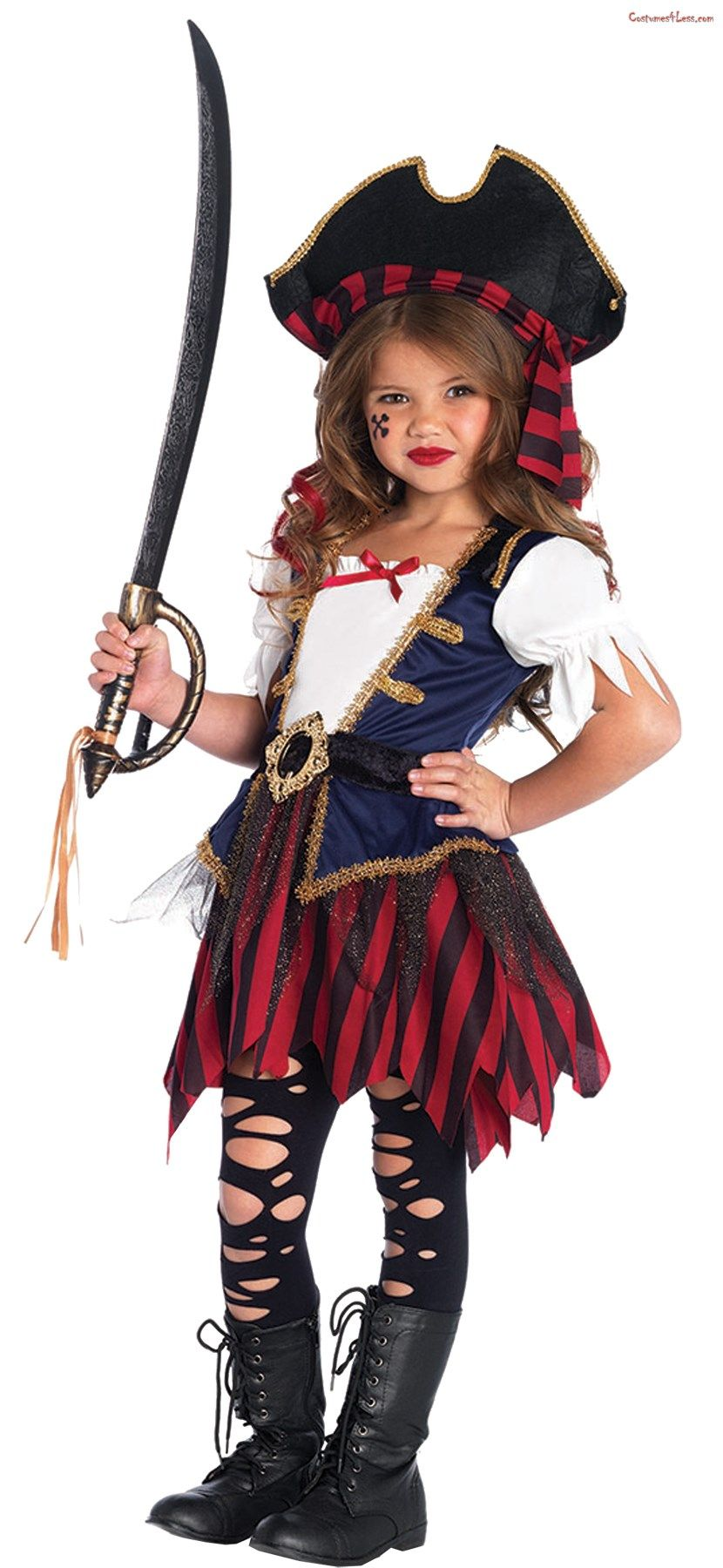 Girls Captain Pirate Costume Childs Buccaneer Carribean Fancy Dress Kids Outfit