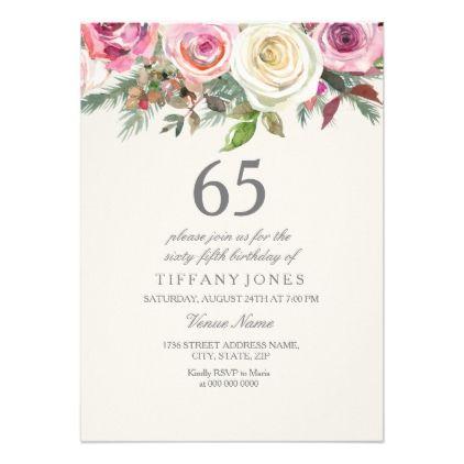 White rose 65th 66th 67th 68th 69th birthday invitation birthday invitations pinterest - Geburtstagsideen zum 90 ...