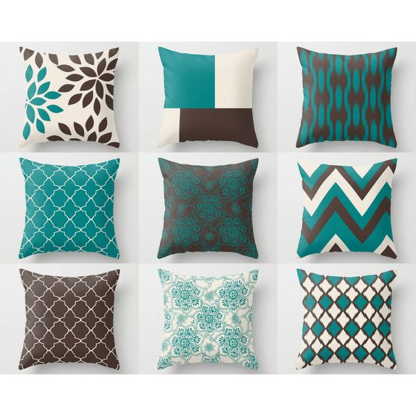 Teal Brown Pillows Pillow Covers Teal Chocolate Beige Home Decor