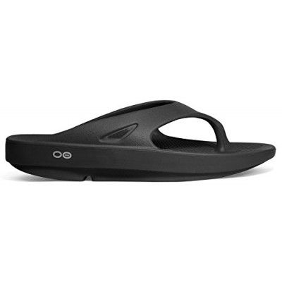 Oofos Original Unisex Black Thong Sandal (Includes FREE RUBBER FOOT MASSAGER) (Men 3 Women 5)