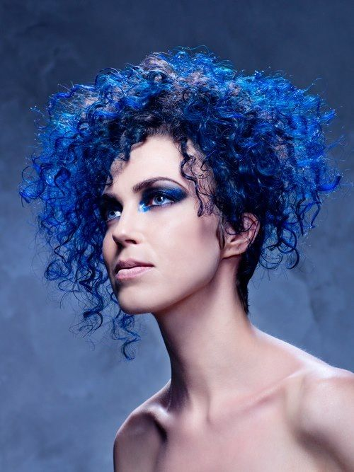 Blue Curly Short Hair Curly Hair Styles Colored Curly