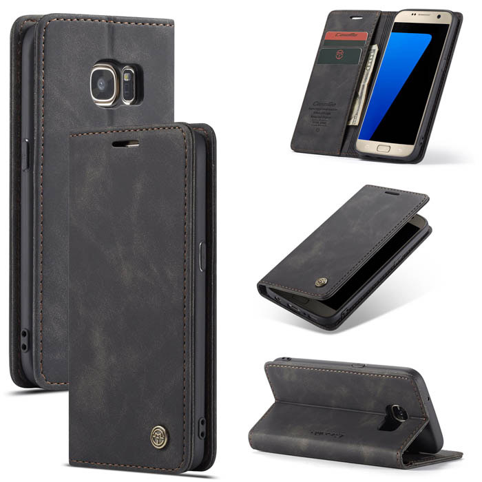 Caseme Samsung Galaxy S7 Wallet Stand Magnetic Flip Case Black Samsung Galaxy S7 Samsung Galaxy Galaxy S7