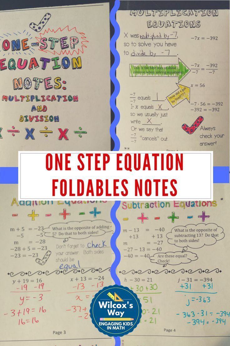 Notes For All One Step Equations Quick To Fold For Interactive Notebooks Comes With Practice Worksh One Step Equations Equations Math Interactive Notebook One step equations with addition and
