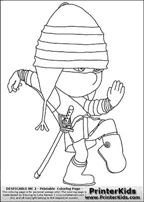 Despicable Me 2 Edith 1 Ninja Coloring Page Minion Coloring Pages Coloring Pages Color
