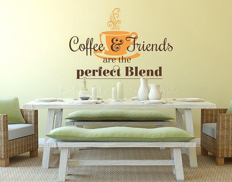 Wandtattoo Coffee & Friends | Wandtattoos Küche, Wandtattoo Und