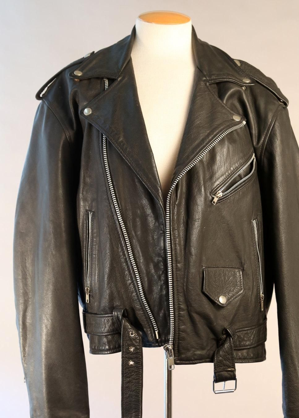90s leather jacket size xl, members only black leather coat, 1990s mens leather jacket, mint condition, rocker grunge