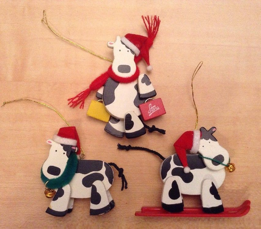3 Cow Christmas ornament Steers Farm Country rustic Holstein cow on skis  cows | Collectibles, Animals, Farm & Countryside | eBay! - 3 Cow Christmas Ornament Steers Farm Country Rustic Holstein Cow On