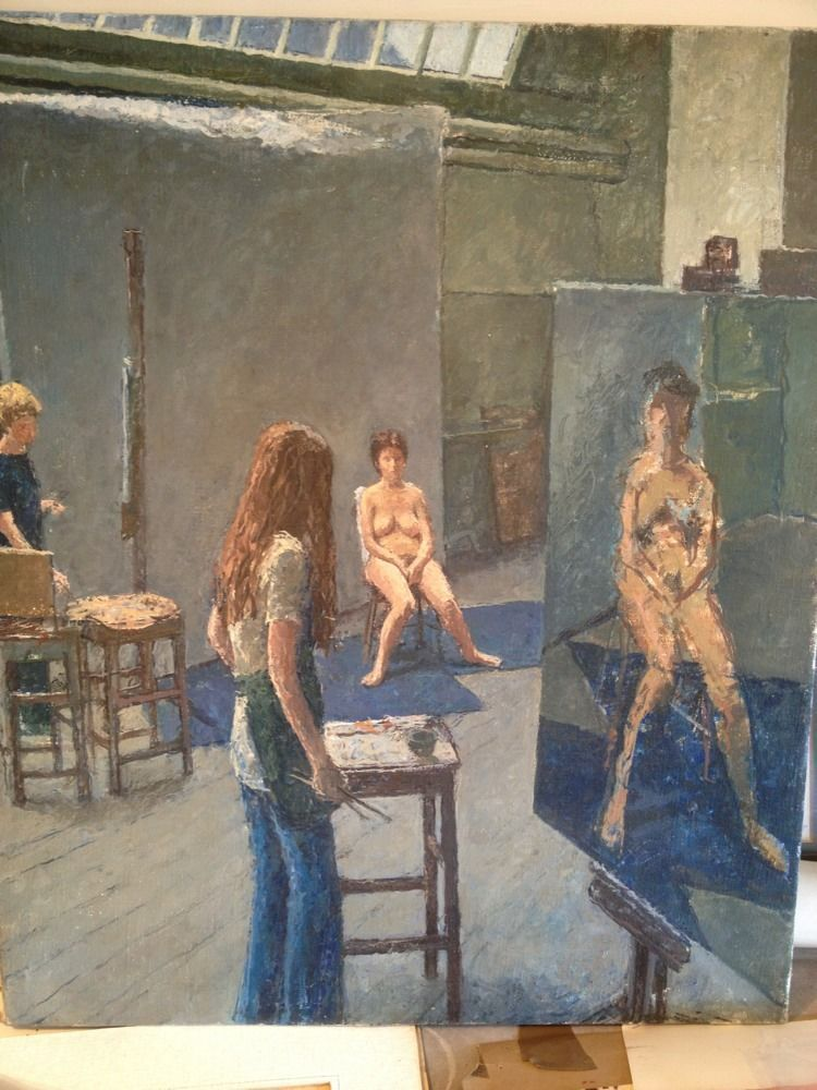 John Whittall RA listed british artist, Royal Academy Listed  british artist , Nude Model oil on canvas