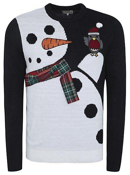Cute Christmas Jumper - Christmas Snowman and Robin Jumper | Men | George at ASDA
