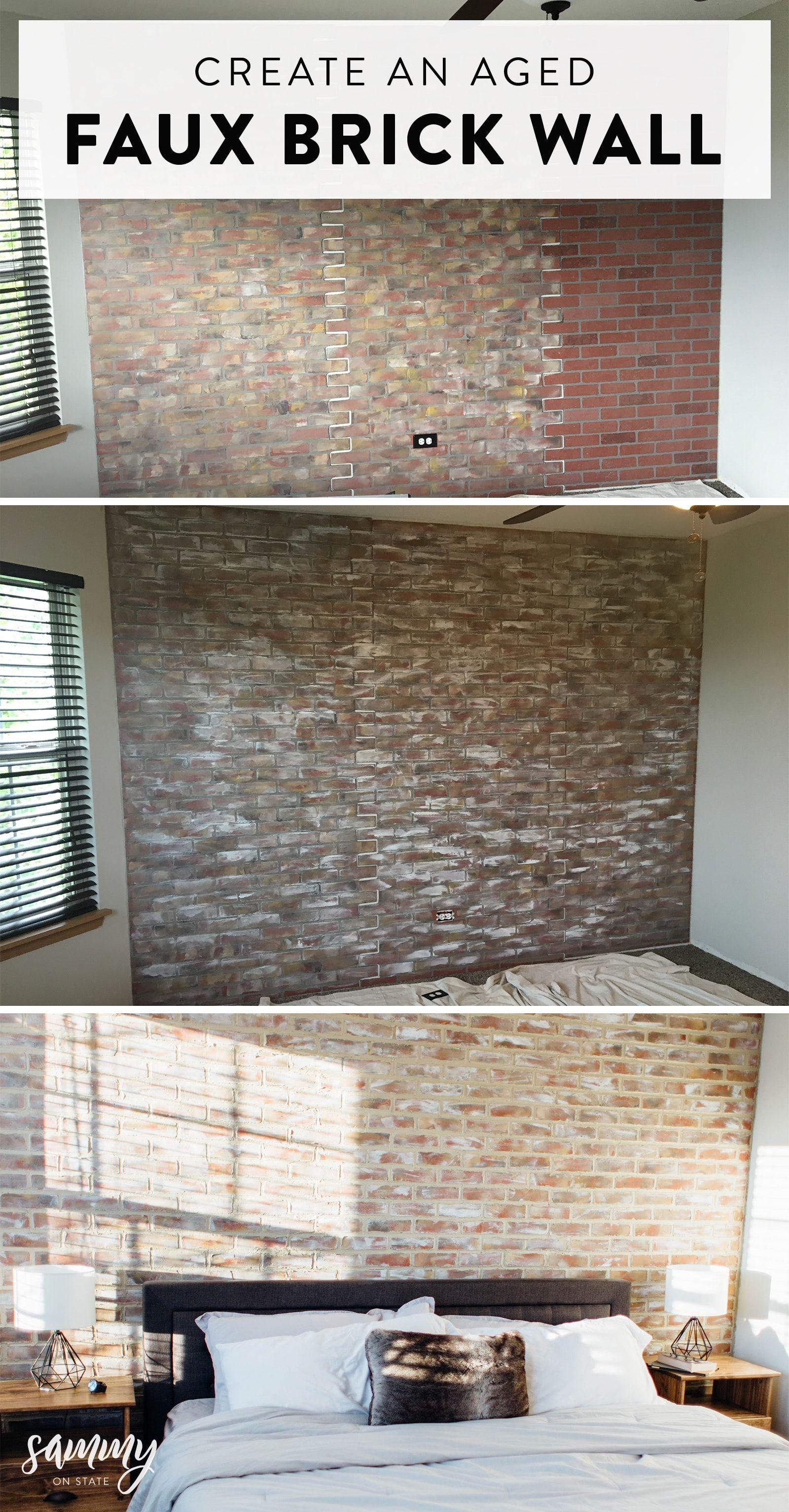 Diy Faux Aged Brick Wall Faux Brick Faux Brick Walls Brick