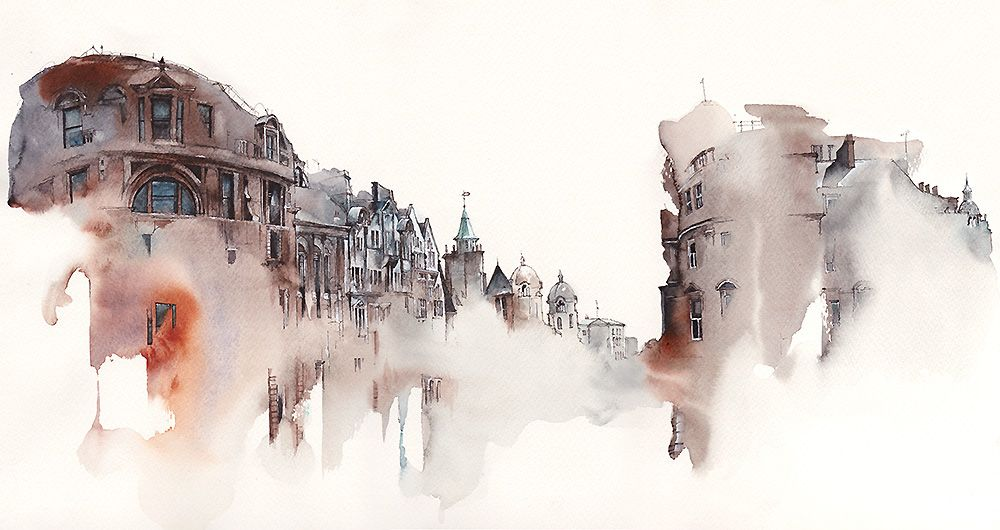Watercolor Illustrations Of Architecture Of The Watercolor